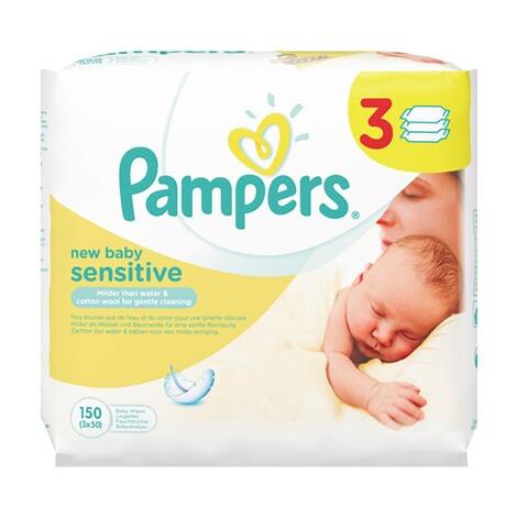 pampers 3er pack feuchtt cher new baby sensitive 150. Black Bedroom Furniture Sets. Home Design Ideas
