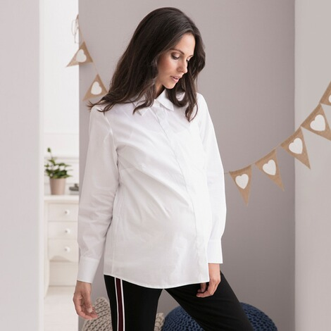 2hearts COSY & WILD Umstands- und Still-Bluse langarm Easy Business  White 4