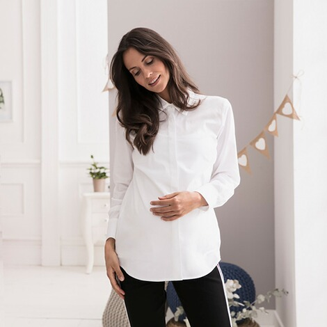 2hearts COSY & WILD Umstands- und Still-Bluse langarm Easy Business  White 5