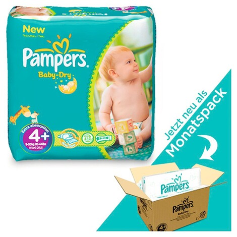 PAMPERS  Baby Dry Windeln Gr. 4+ 9-18 kg Monatsbox 152 St. 1