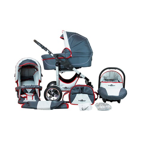 BERGSTEIGER  Capri Kombikinderwagen Trio-Set mit Wickeltasche  grey/red stripes 1