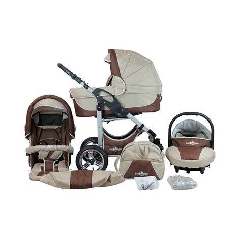 Bergsteiger  Capri Kombikinderwagen Trio-Set mit Wickeltasche  coffee/brown 1