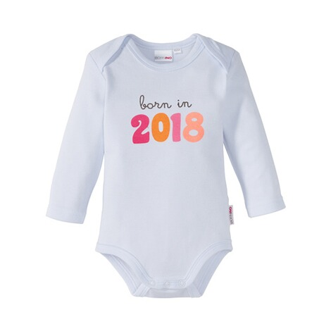 BORNINO  Sprüchebody langarm born in 2018  weiß/rosa 1