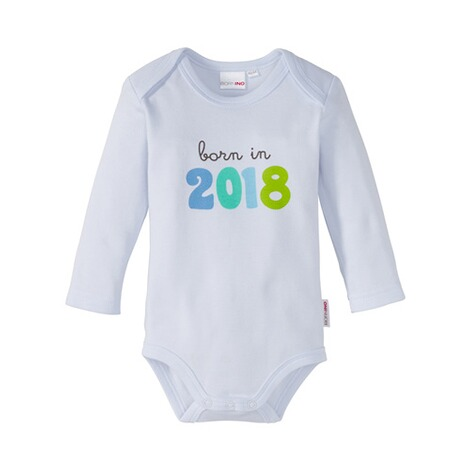 BORNINO  Sprüchebody langarm born in 2018  weiß/blau 1
