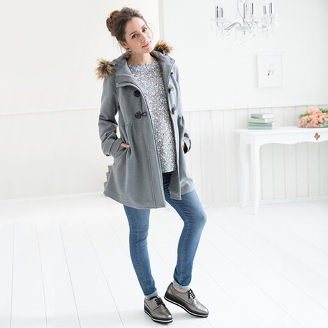 2hearts COSY & WILD Umstands-Mantel Romantic Duffle Coat mit Fake Fur 4