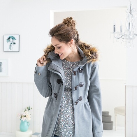 2hearts COSY & WILD Umstands-Mantel Romantic Duffle Coat mit Fake Fur 5