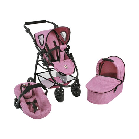 BAYER CHIC  Kombi-Puppenwagen 3 in 1 Emotion All In  jeans/pink 1
