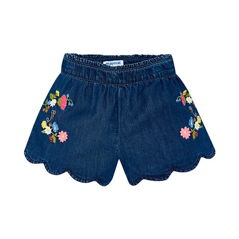 MAYORAL  Jeans-Shorts Blumenstickerei 1