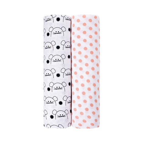 LÄSSIG  2er-Pack Mullwindel Swaddle & Burp Blanket XL 120x120 cm  Little Chums Mouse 1