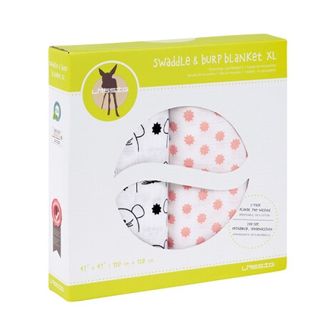 LÄSSIG  2er-Pack Mullwindel Swaddle & Burp Blanket XL 120x120 cm  Little Chums Mouse 3