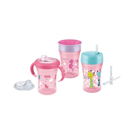 NUK  5-tlg. Trinklernset mit Starter Cup, Magic Cup, Fun Cup  pink 1