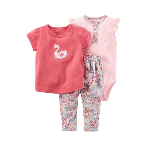 CARTER´S  3-tlg. Set T-Shirt, Body kurzarm und Leggings Blumen Schwan 1