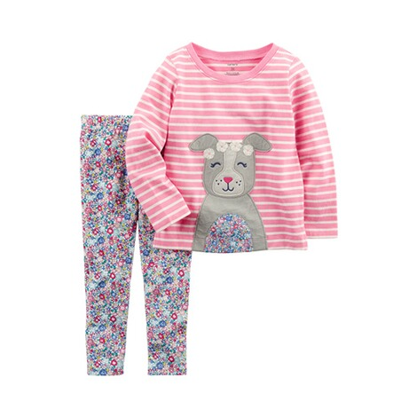 CARTER´S  2-tlg. Set Shirt langarm und Leggings Hund Blumen 1