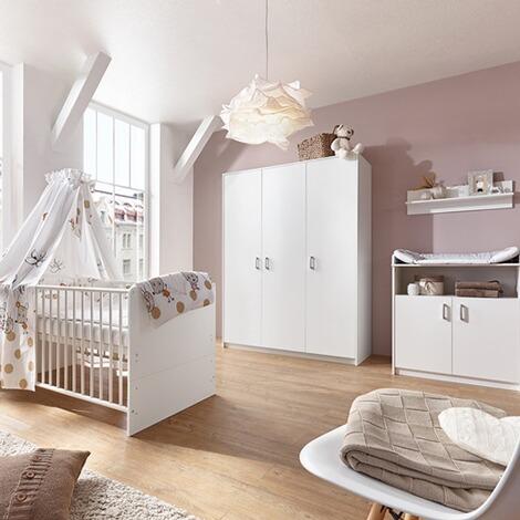 babyzimmer classic white mit 3 trigem kleiderschrank