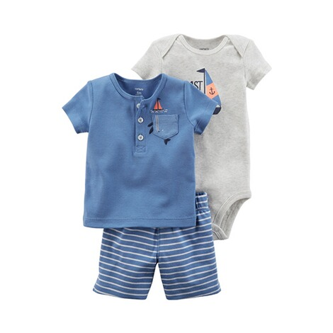 CARTER´S  3-tlg. Set T-Shirt, Body kurzarm und Shorts Ringel Boot 1