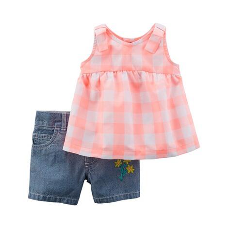 huge discount 38181 af858 CARTER´S 2-tlg. Set Tunika ohne Arm und Jeans-Shorts Karo