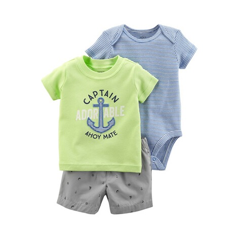 CARTER´S  3-tlg. Set T-Shirt, Body kurzarm und Shorts Captain 1