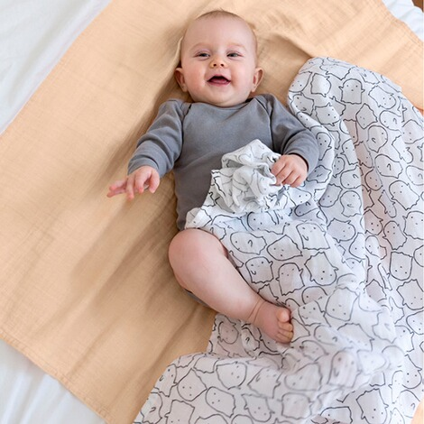 LÄSSIG  2er-Pack Mullwindel Swaddle & Burp Blanket XL 120x120 cm  Little Spookies peach 2