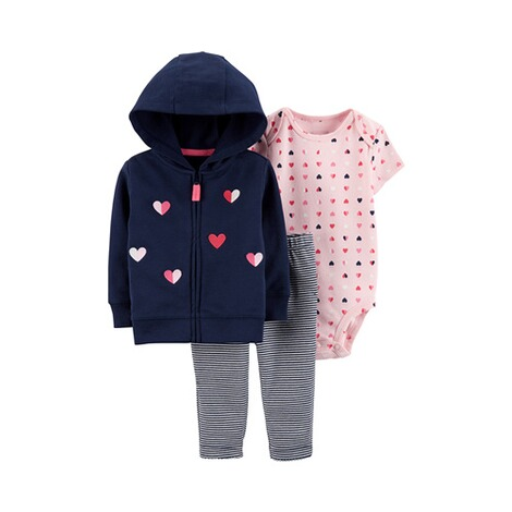 CARTER´S  3-tlg. Set Sweatjacke, Body kurzarm und Leggings Herzen 1