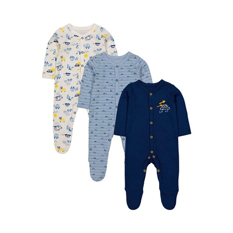 Mothercare  3er-Pack Schlafoveralls Autos 1