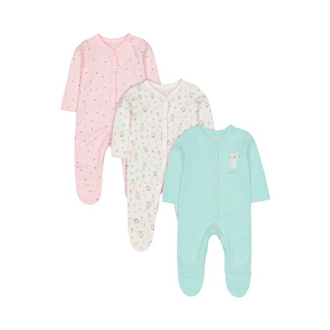 Mothercare  3er-Pack Schlafoveralls Tiere 1