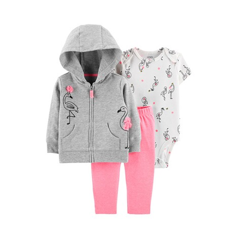 CARTER´S  3-tlg. Set Body kurzarm, Sweatjacke und Leggings Flamingo 1