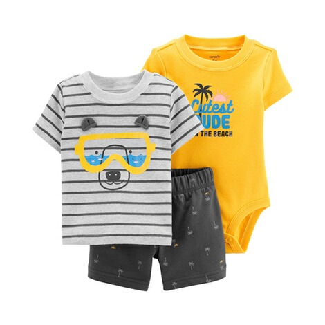 CARTER´S  3-tlg. Set T-Shirt, Body kurzarm und Shorts Bär 1