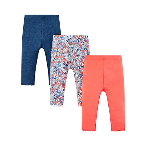 Mothercare  3er-Pack Leggings Uni Blumen 1