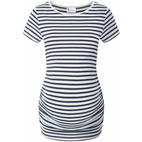 PAULINA  Umstandsshirt Friends and Family  blue striped 1