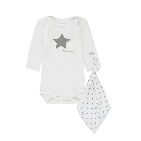 Bellybutton  Geschenkset: Body langarm + Stofftuch  bright white 1
