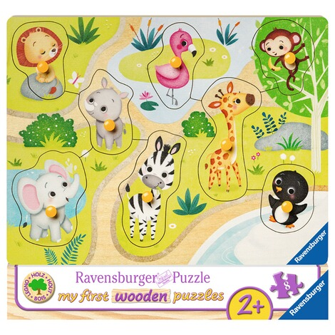 RAVENSBURGER  my first wooden puzzles Unterwegs im Zoo 1