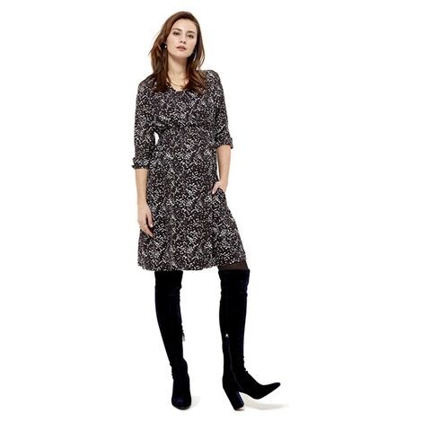 Queen Mum  Still-Kleid  Black AOP 6