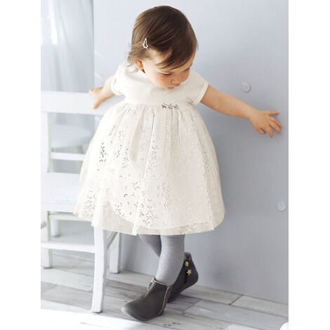 Und Wollweißsilber Tüll Satin Festliches Babykleid Vertbaudet Aus qzLVpSUMG