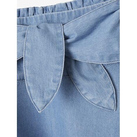 Vertbaudet Mädchen Jeansrock mit Bindegürtel verwascht dunkelblau