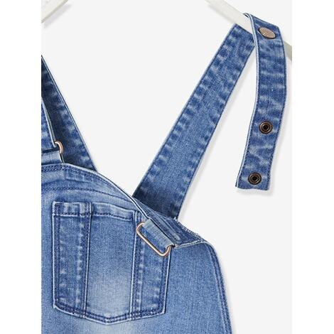Gute Preise Top Marken bis zu 80% sparen Mädchen Jeans-Latzhose mit trendigen Badges verwascht dunkelblau