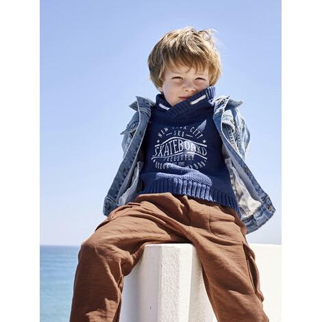 reputable site f3af5 d5d5c Jungen-Jeansjacke mit Kapuze verwascht dunkelblau
