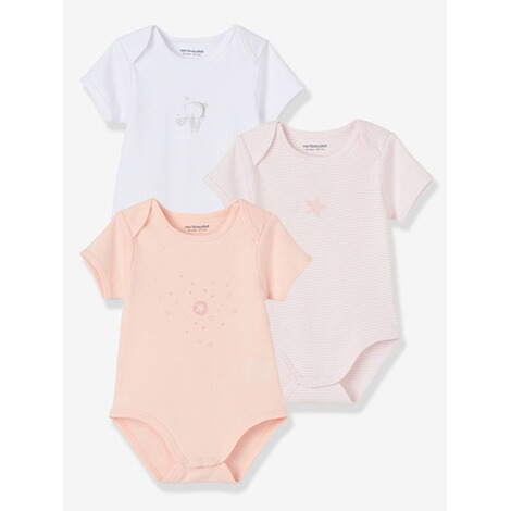 VERTBAUDET  HAPPY PRICE 3er-Pack Baby-Bodys kurzarm  pack rosa 1