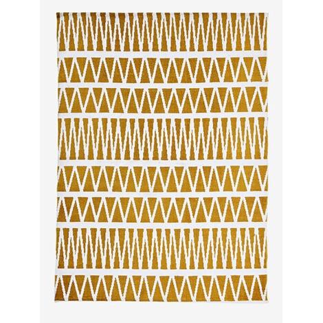 Vertbaudet Kinderzimmer-Teppich, grafisches Muster gelb bedruckt