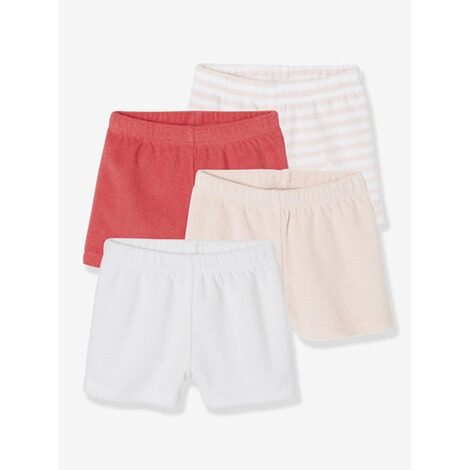 Vertbaudet  HAPPY PRICE 4er-Pack Frottee-Shorts für Baby Junge  multicolor hellrose 1