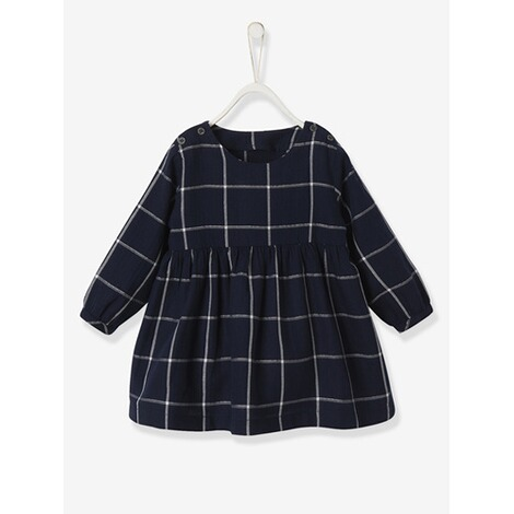 Kariertes Kleid für Baby Mädchen karo dunkelblau