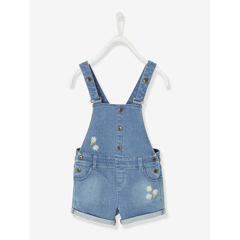letzte Veröffentlichung Sonderangebot Großhändler Kurze Jeans-Latzhose für Mädchen verwascht dunkelblau
