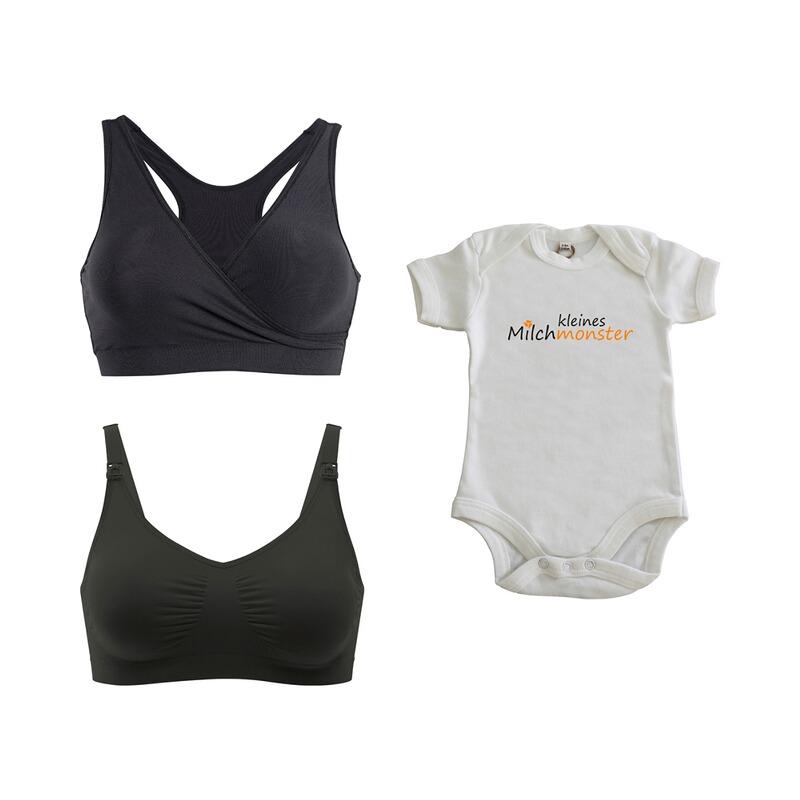3-tlg. Set Still-BH, Schlafbustier und Gratis Baby Body