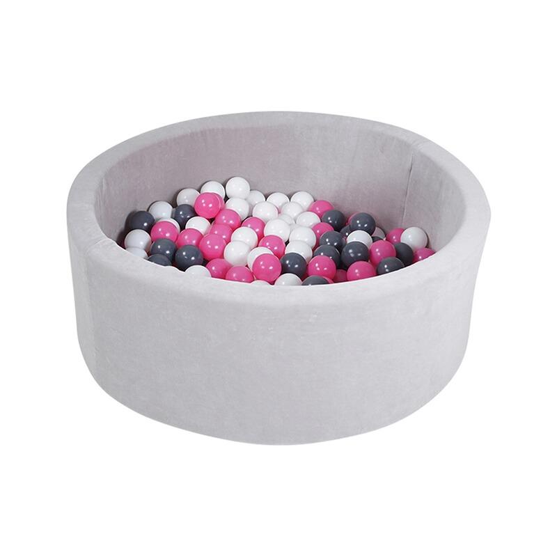 Bällebad soft - Grey mit 300 Bällen grau/rosa